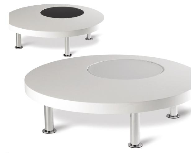 Salontafel rond hoogglans wit + glas wit  zwart   Meubelen TilT De Keizer