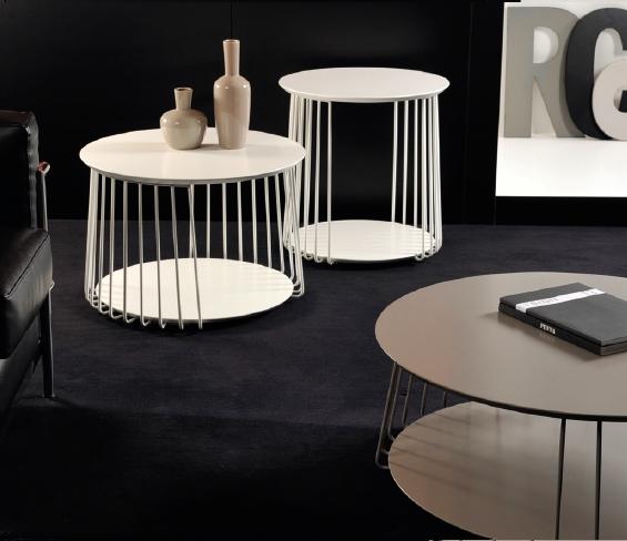 Bijzet salontafeltje metaal gepoederlakt grijs wit meubelen tilt de keizer - Decoratie salon grijs wit ...