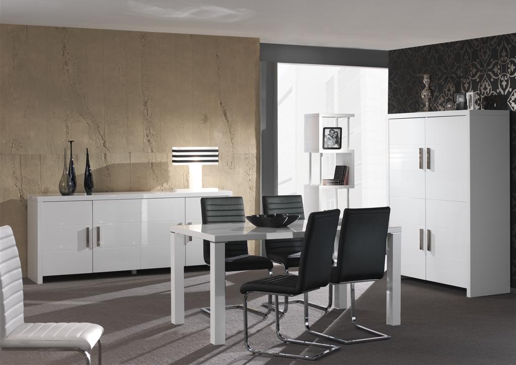 Eetkamer in hoogglans wit CUBIC - Meubelen DE KEIZER - TilT