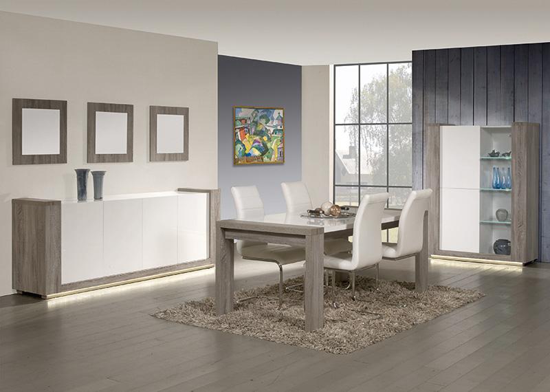 Eetkamer Wit Hoogglans : Eetkamer truffel eik met witte hoogglans deuren meubelen de keizer
