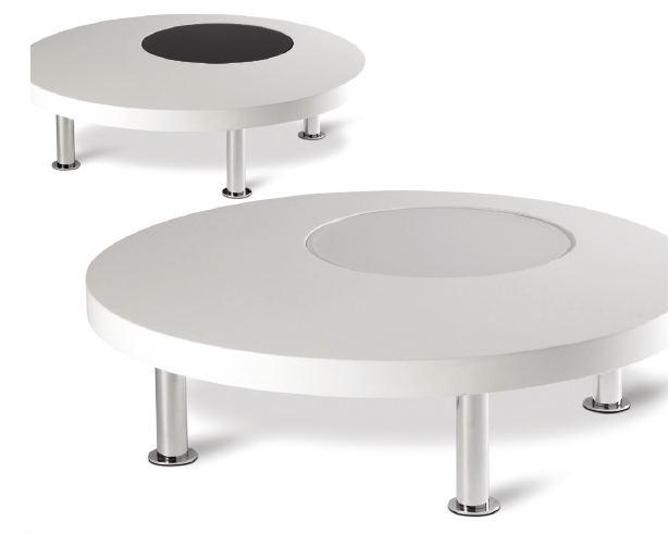 Salontafel rond hoogglans wit glas wit zwart meubelen de keizer
