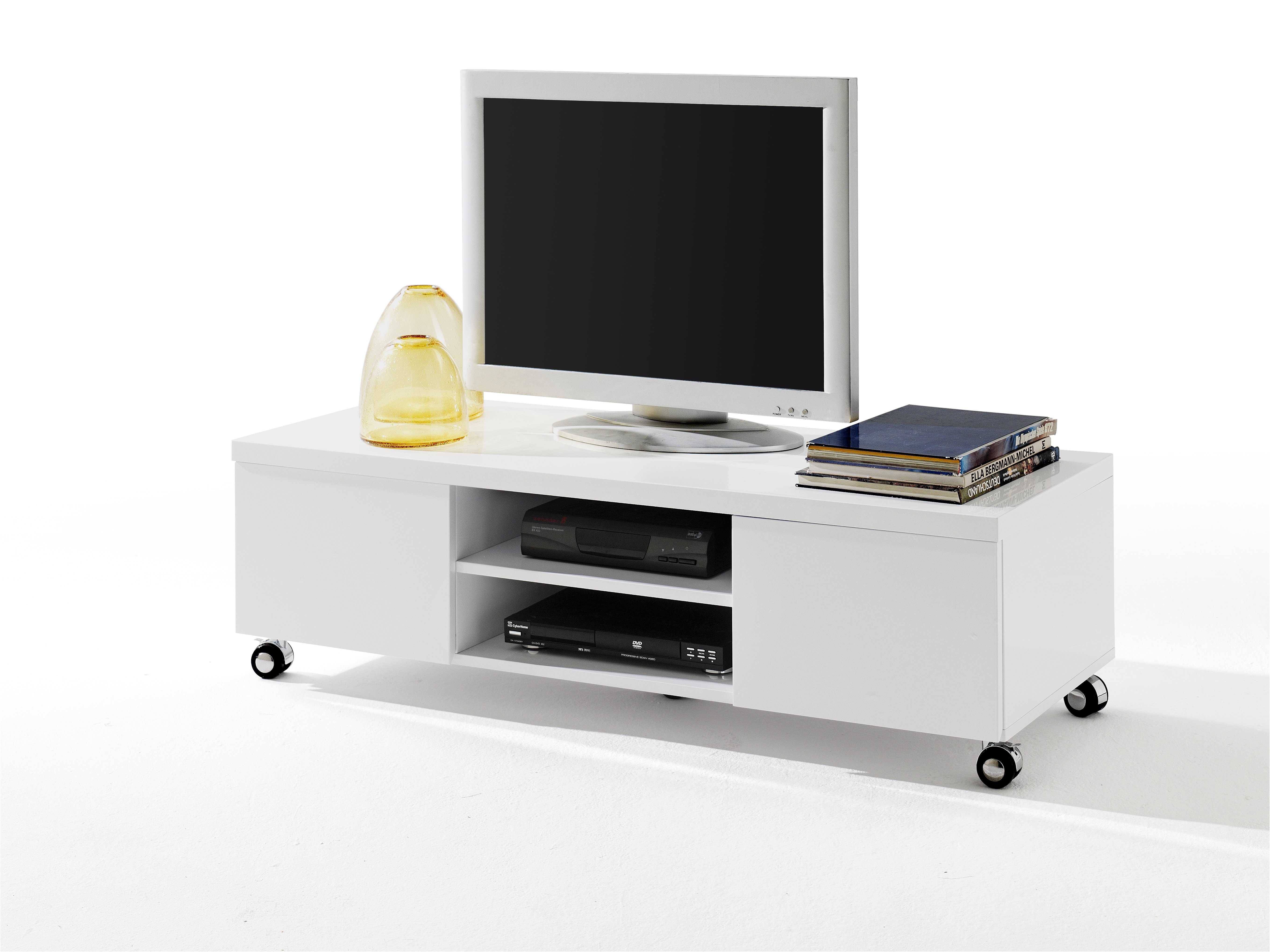 Tv Meubel Wieltjes : Tv meubel hella hg wit wieltjes meubelen de keizer