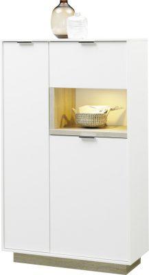 Stauraum-Elementmit 2 Türen und KlappeKorpus Weiß / Front Weiß / Absetzfarbe EicheBreite 86 / Höhe 143 / Tiefe 37 cmLED-Beleuchtung optionalEAN-Code  4003944110237