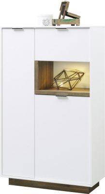 Stauraum-Element mit 2 Türen und Klappe Korpus Weiß / Front Weiß / Absetzfarbe Stirling Eiche Breite 86 / Höhe 143 / Tiefe 37 cm LED-Beleuchtung optional  EAN Code 4003944110336